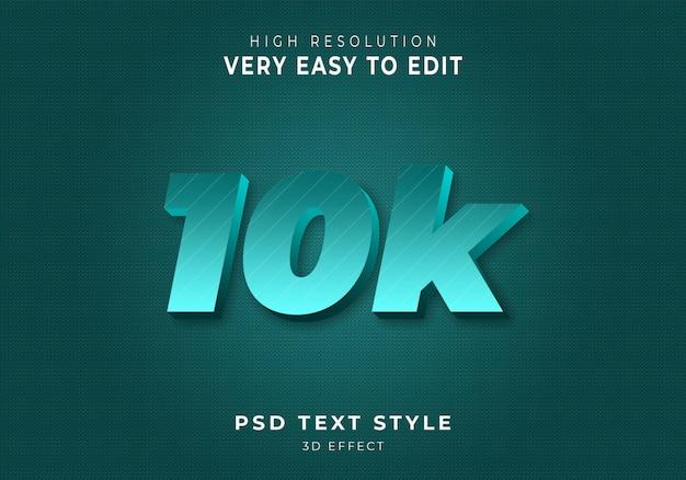 Estilo de texto 3d de 10k