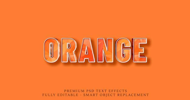 Estilo de texto 3d de baja poli naranja