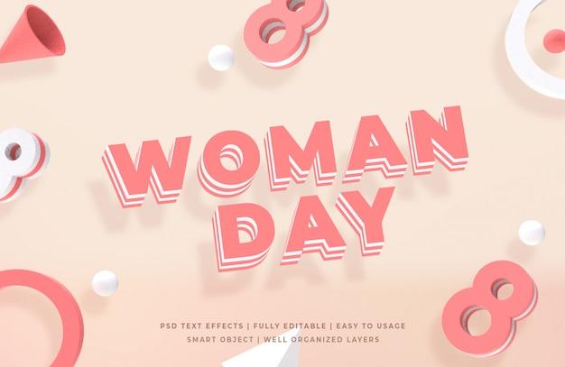 Estilo de texto 3d del día de la mujer