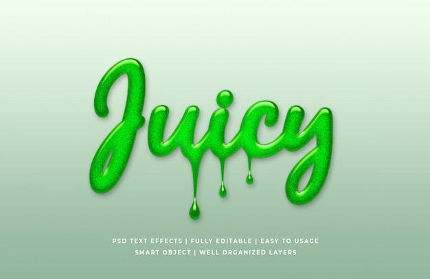 Estilo de texto 3d líquido verde