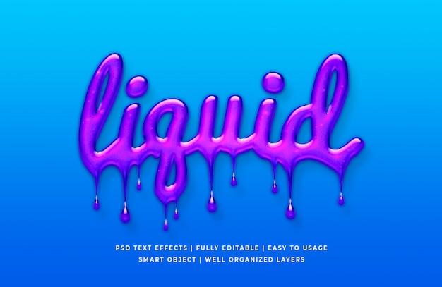 Estilo de texto 3d líquido