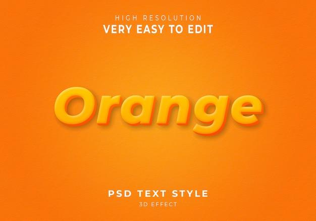 Estilo de texto 3d naranja