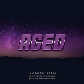 Estilo de texto 3d purple space