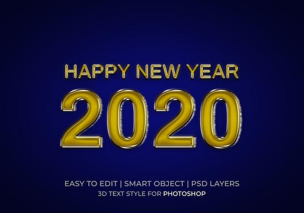 Estilo de texto brillante feliz año nuevo 2020