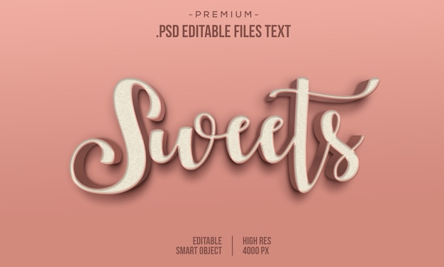 Estilo de texto en negrita 3d degradado dulce dulce moderno, dulces efecto de texto de estilo 3d abstracto, efecto de texto de dulces usando estilos de capa