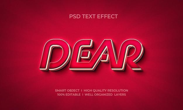 Estimado plantilla de efecto de texto 3d