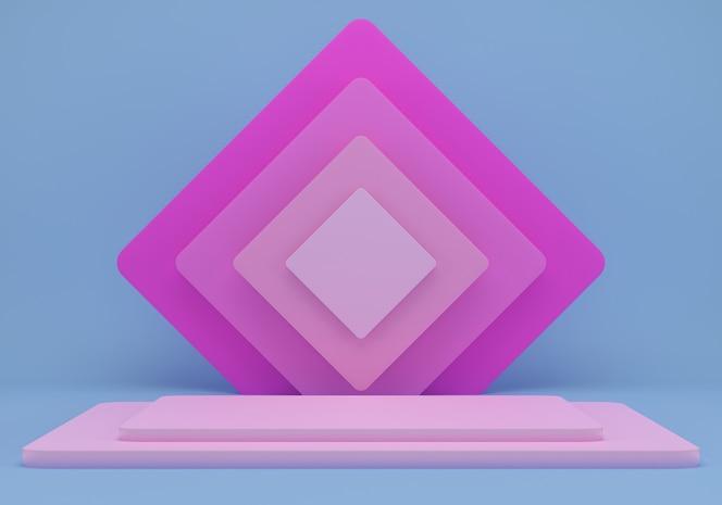 Estudio con formas geométricas y podio para presentación de productos.