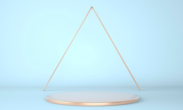 Estudio de renderizado 3d con formas geométricas, podio en el suelo. plataformas para presentación de productos, simulacros de fondo.
