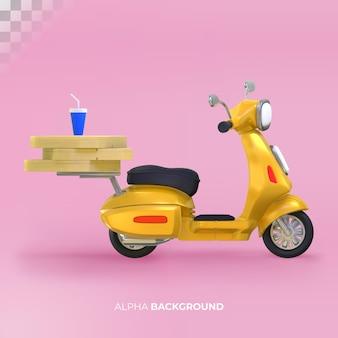 Eten bezorgen met scooter. 3d-rendering