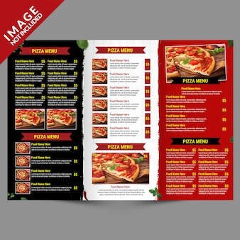 Eten bezorgservice driebladige menu binnen sjabloon