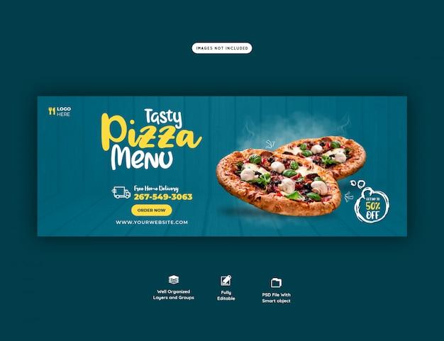 Eten menu en heerlijke pizza facebook cover banner sjabloon
