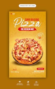 Eten menu en heerlijke pizza instagram en facebook verhaalsjabloon