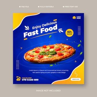 Eten menu en heerlijke pizza social media banner sjabloon gratis psd