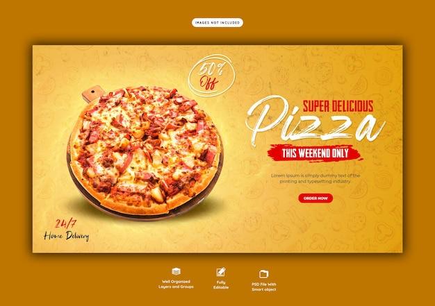 Eten menu en heerlijke pizza webbannersjabloon