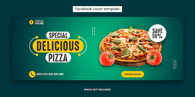 Eten menu en restaurant facebook omslagpost sjabloon
