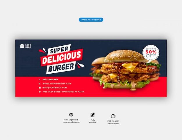 Eten menu en restaurant facebook voorbladsjabloon premium psd