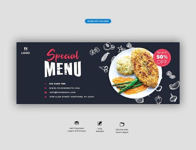 Eten menu en restaurant facebook voorbladsjabloon