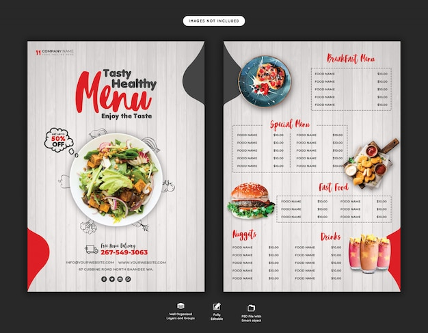 Eten menu en restaurant flyer-sjabloon