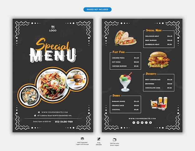 Eten menu en restaurant folder sjabloon