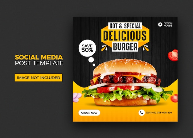 Eten menu en restaurant hamburger social media postsjabloon