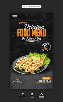 Eten menu en restaurant instagram en facebook verhaalsjabloon
