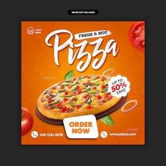 Eten menu en restaurant pizza social media postsjabloon premium psd
