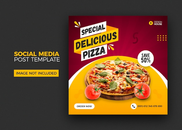 Eten menu en restaurant pizza social media postsjabloon