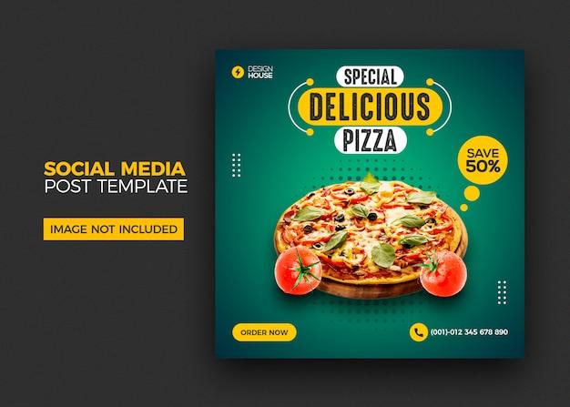 Eten menu en restaurant pizza social media postsjabloon
