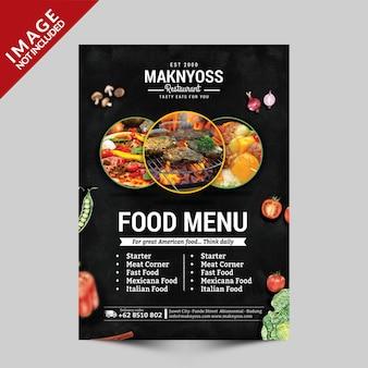 Eten menu flyer template voorzijde