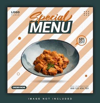 Eten menu instagram banner of post ontwerpsjabloon
