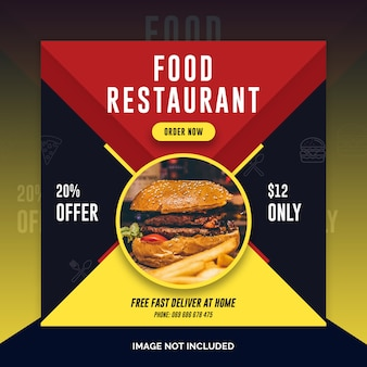 Eten restaurant instagram post, vierkante banner