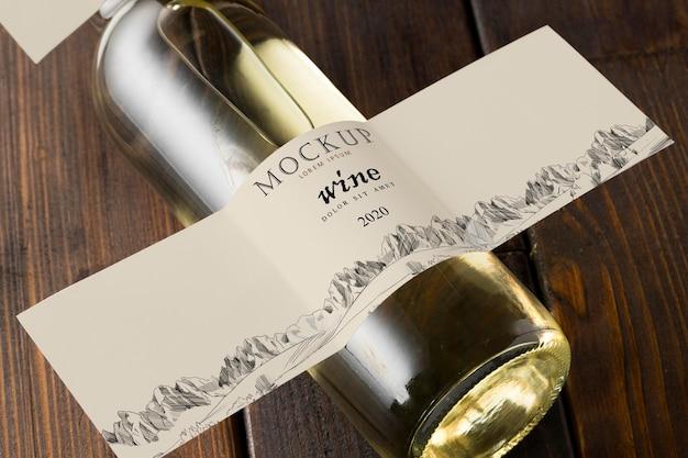Etiqueta de la botella de vino maqueta vista superior
