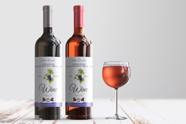 Etiqueta de botella de vino realista maqueta