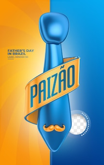 Etiqueta feliz día del padre en brasil diseño de plantilla de render 3d en portugués
