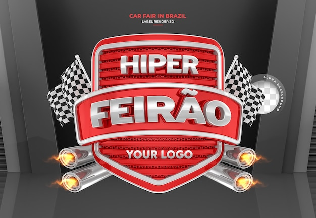 Etiqueta feria de automóviles en brasil diseño de plantilla de render 3d portugués