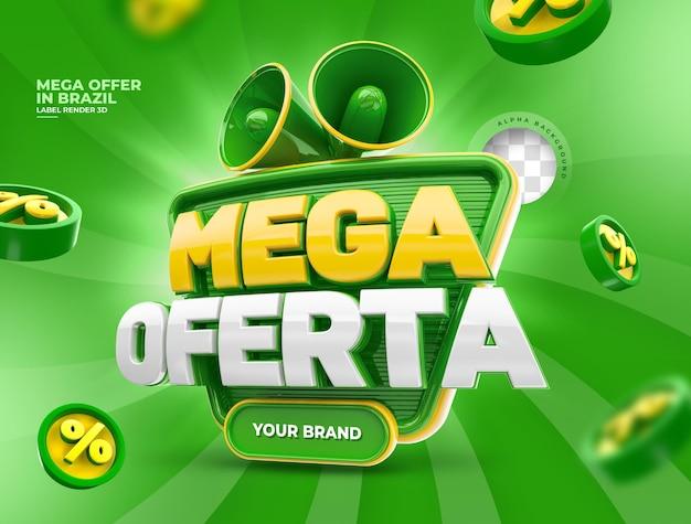 Etiqueta mega ofertas para campaña de marketing en brasil diseño de renderizado 3d portugués