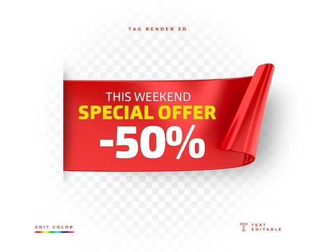 Etiqueta oferta especial rojo representación 3d aislada