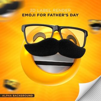 Etiqueta de papá emoji diseño de render 3d del día del padre