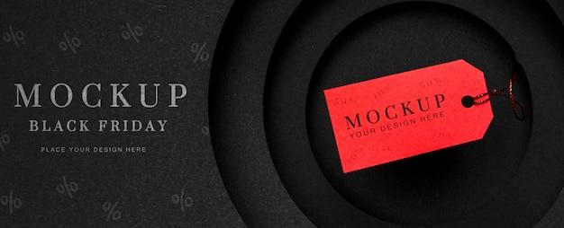 Etiqueta de precio rojo y texto de maqueta de viernes negro