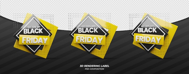Etiqueta de render 3d de viernes negro