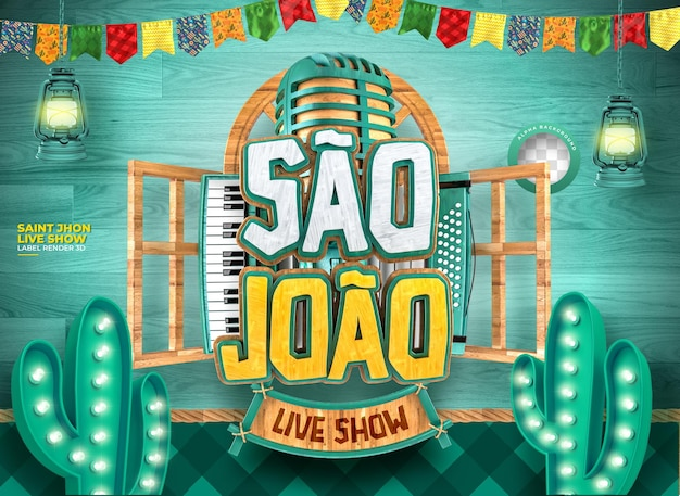Etiqueta sao joao 3d render festa junina no brazil realista