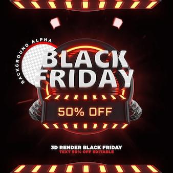Etiqueta de viernes negro render realista 3d para campañas de promoción y ofertas
