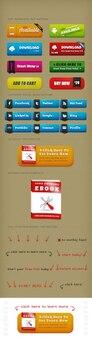 Etiquetas y botones coloridos elementos web