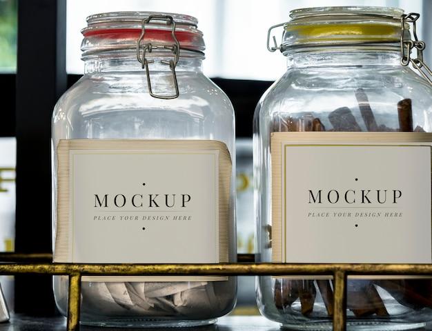 Etiquetas de tarro de recipiente de vidrio