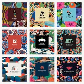 Etnische patroonsjabloon psd voor branding-logoset, geremixt van kunstwerken in het publieke domein