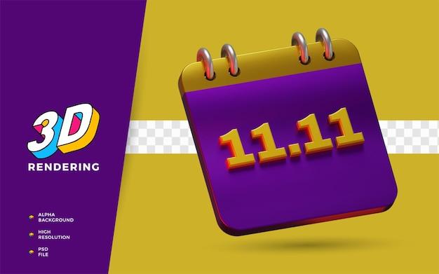 Evenement 11.11 koopdagkorting flash-uitverkoop hot deal 3d render-object