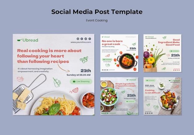 Evenement koken sociale media post-sjabloon