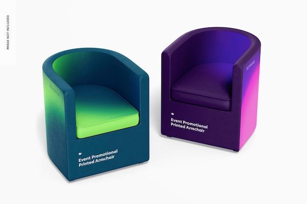Evenement promotionele bedrukte fauteuils mockup, perspectief