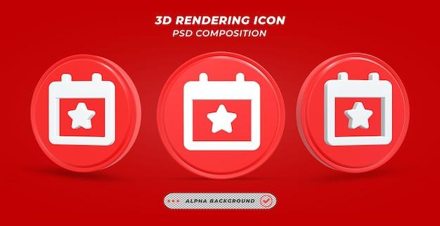 Evenementenkalenderpictogram in 3d-rendering