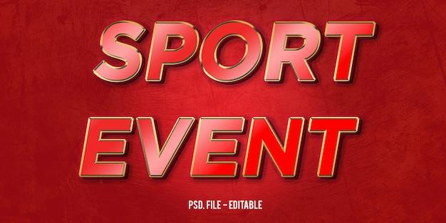 Evento deportivo efecto de estilo de texto 3d
